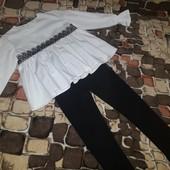 р.110-116 Новые! блузочка белая и лосины с микроначесом