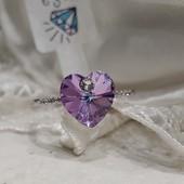 не пропустите! шикарное кольцо с фианитами и кристаллами Swarovski цвет хамелеон, р.19, родий