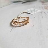"""Позолоченное кольцо """"морские звёзды"""" p.16,5 позолота 585 пробы 18 карат"""