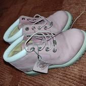 Оригинальные кожаные пудрово-розовые Timberland 22см