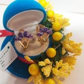 Новинка!!!Очаровательные серьги -колечки с фиолетовыми кристаллами+фианиты позолота 585 пробы