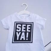 Стоп!! Фирменная удобная яркая натуральная футболка от h&m