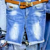 Новые стрейчевые джинсовые шорты, р. 32, поб 50 см, пот 42 см. На бедра 102-108 см.Высокая талия