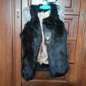 Новый мех натуральный (кролик) жилет моднице р140