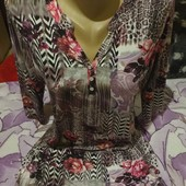 Эксклюзивная яркая с разноцветным принтом трикотажная блузка новая.Вискоз95%.xl,xxl,3xl.Лотов много