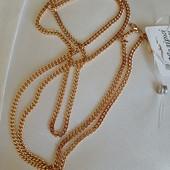 новинка! очень красивая и нежная цепочка, плетение панцирное 55 см, позолота 585 пробы
