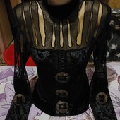 Шикарная чёрная велюровая под горло блузка. m,l,xl,xxl. Лотов много