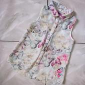 Стоп , Бабочки❤ Фирменнная шифоновая блуза,7-8 лет❤ Много лотов!