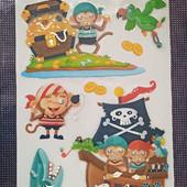 Объемные наклейки Сокровища пиратов 10шт