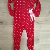 Carters Флисовый слип для девочки 5года замеры на фото