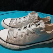 Серебристые кеды Converse, ориг. Вьетнам, разм. 34 (21 см по бирке, реально 22,5 см внутри).