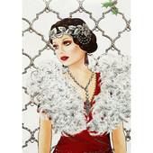 """Алмазная вышивка """"Дама в боа"""". Полная выкладка"""