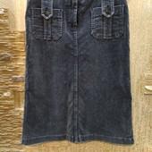Шикарная серая вельветовая юбка в винтажном стиле р.12 Акция читайте