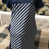 Женское платье халат из хлопка с эластаном, р.7xl ПОГ 52, темно синее