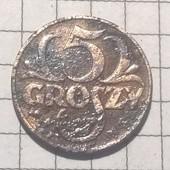 Монета Польши 5 грошей 1938