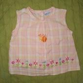 Натуральна коттонова блуза з бджілкою на 9-12 міс