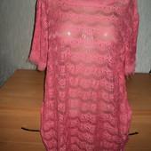 ***1000лот Собирайте Платье Туника кружево гипюр..коралл-розовый