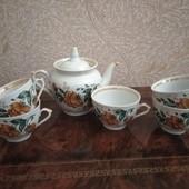 Красивий чайний набір: чайник +5чашок