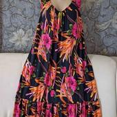 Яркое летнее платье с оборками снизу,  р. 4XL