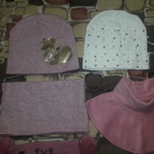 Лот: шапки, манишки, шарфик на 6-8 лет примерно