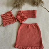 Комплект шапка, снуд и юбка, ручная работа, 4-6 лет