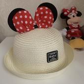 Детская летняя шляпка для девочки Минни Маус , соломка