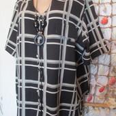 Шикарная блуза-туника, шифон, на красивые формы.