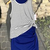 Новое платье-морячка, подойдёт чтобы скрыть животик, размер М-Л, лёгкое и мягкое