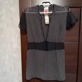 Всё по ! Фирменная новая красивая шифоновая блуза в горошек р.16-18