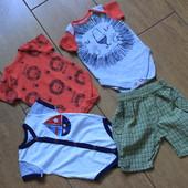Комплект замечательных брендовых бодиков + шортики для малыша. От 3-х месяцев.Все одним лотоим
