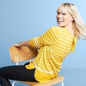 полосатый свитерок из тонкого трикотажа с бантом 46-50