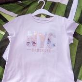 Стоп!!фирменная удобная яркая натуральная футболка с паетками перевертыш от h&m