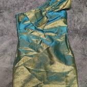 Маленькое золотистое, нарядное платье на одно плечо, р.М-Л