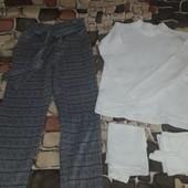 Очень классные школьные штаны +гольф+ две маечки р.140