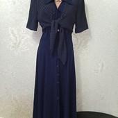 Шикарное плотненькое тёмно-синее платье рубашка р.8 Новое Акция читайте