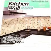Самоклеющаяся фольгированная наклейка на кухню, в ванную. Термо, антижир, антивлага. Большая 90*60
