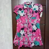 Всё по 100! Фирменная новая красивая летняя коттоновая блуза-туника с пояском р. 36евро(8-12)