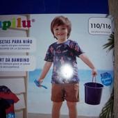 3шт! Качественные футболки из хлопка Lupilu Германия, размер 110/116