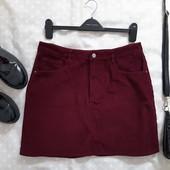 Стильная вельветовая юбочка бордового цвета ! УП скидка 10%