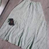 Льняная нежно мятная летняя юбка рисунок 3D