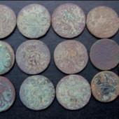 монети по 1-му грошу 1750-х,60-х років. Польща. 13 шт одним лотом.