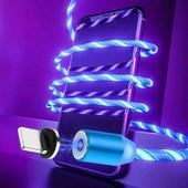 Магнитная зарядка с подсветкой три переходника для зарядки
