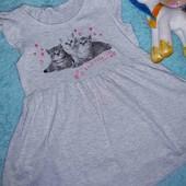 Красивое платьице с котятами,на девочку 5-6 лет