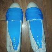 Туфли балетки на скрытой платформе кожа!