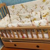 Кровать деревянная с ящиком для белья , комплект постельки и бортики, матрац