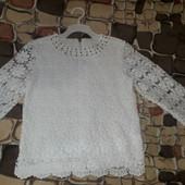 р.146 Нарядная ажурная блузка для девочки