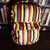 Легкий вместительный городской рюкзак, яркие полоски