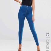 классные высокие сине голубые джинсы скини по бирке рр 1О,высокая талия , boohoo