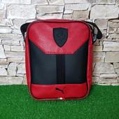 Мужская сумка puma ferrari slim black, красная