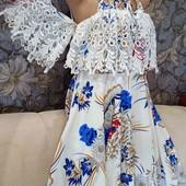 Шикарное летнее платье с фактурным кружевом, р. S